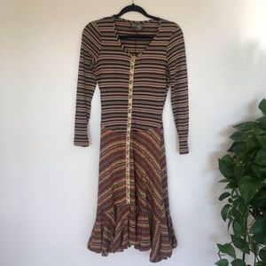 Vintage Betsey Johnson Alley Cat Stripe Maxi Dress